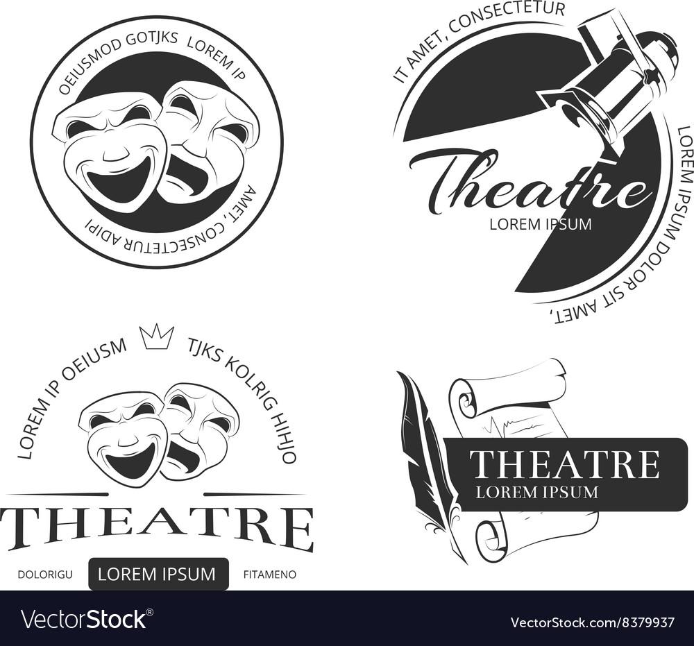 Vintage theatre labels emblems badges and vector image