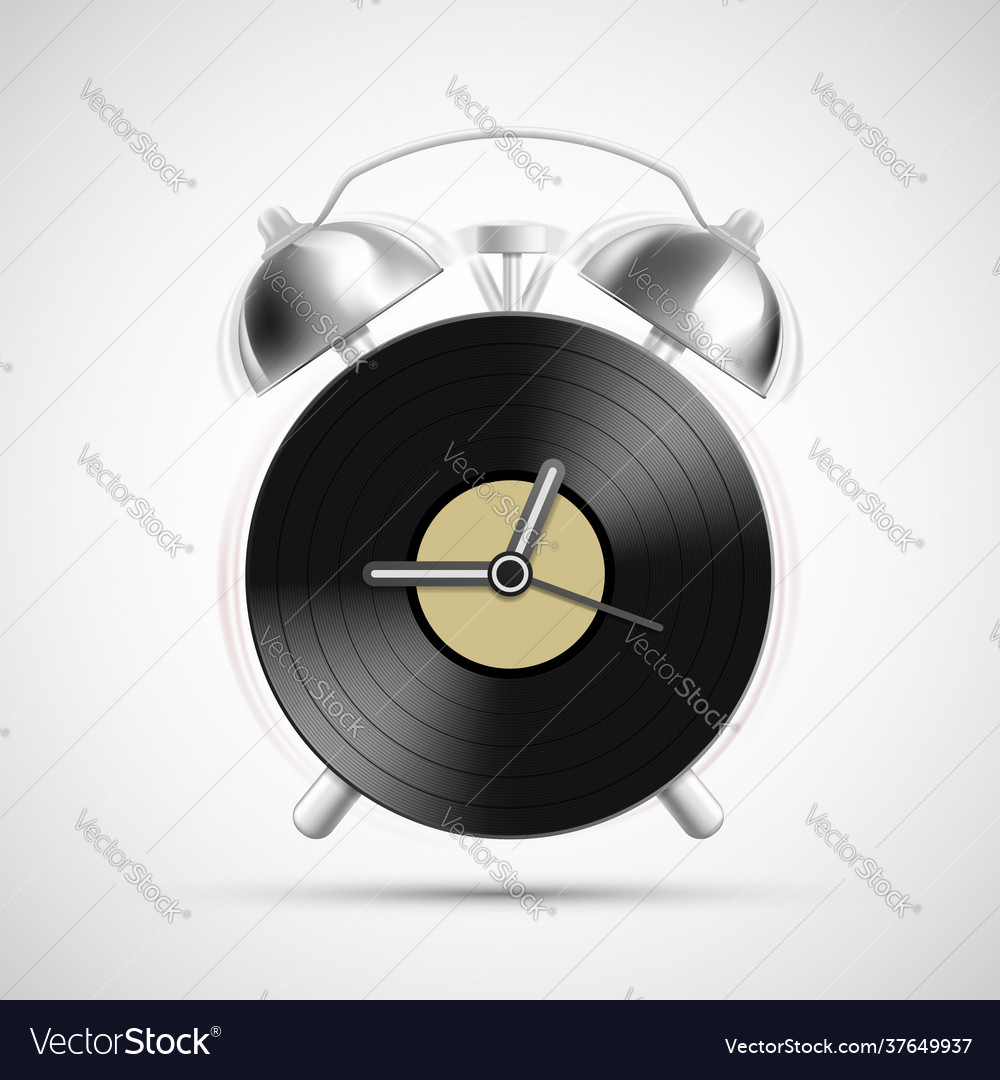 Vinyl record on dial alarm clock
