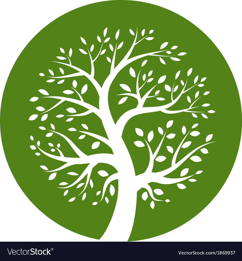 White tree icon in green round