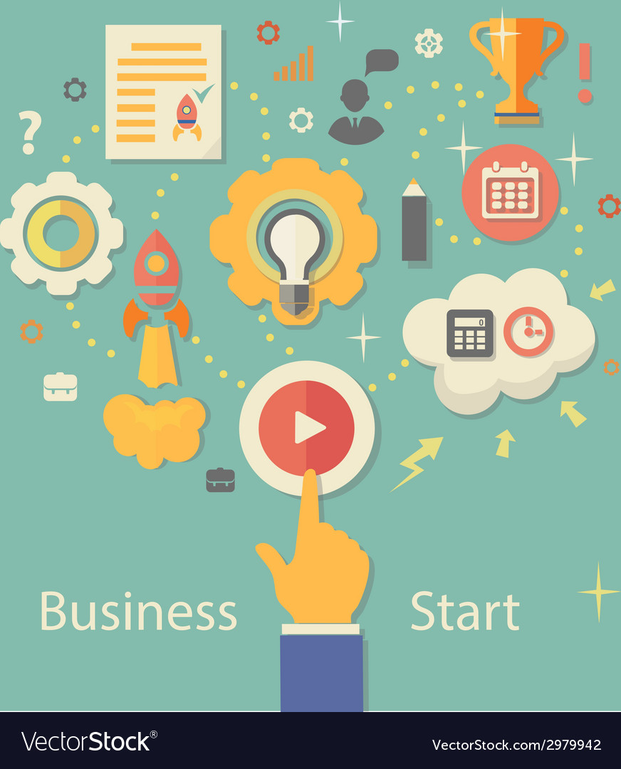 Business Startup Gears infographics with people