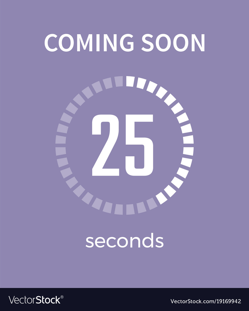 Coming soon white timer time vector image