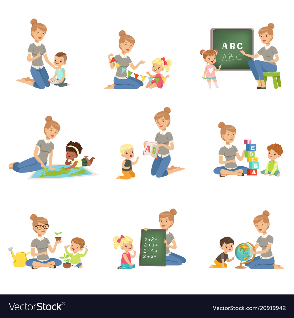 Cute little boys and girls playing and studying