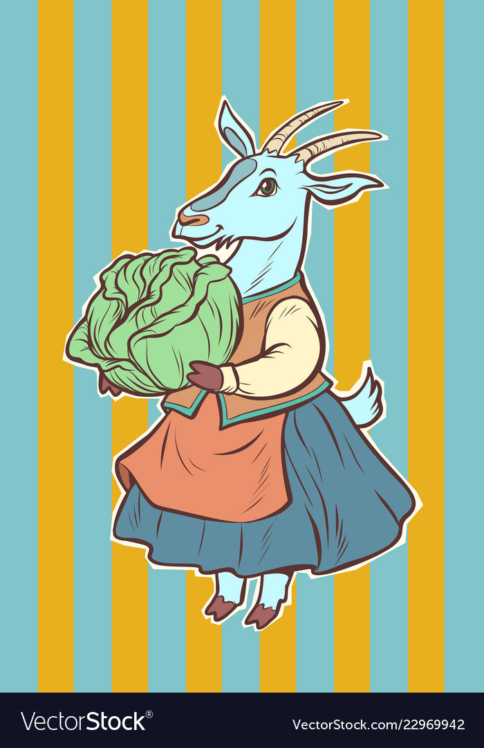 Goat with cabbage fairytale character