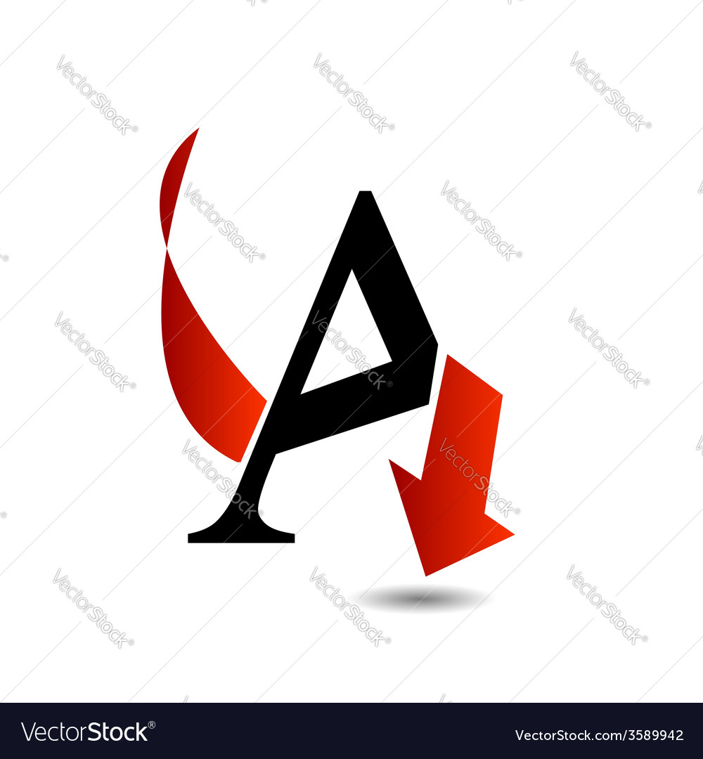 Logo abstract letter A with red arrow vector image