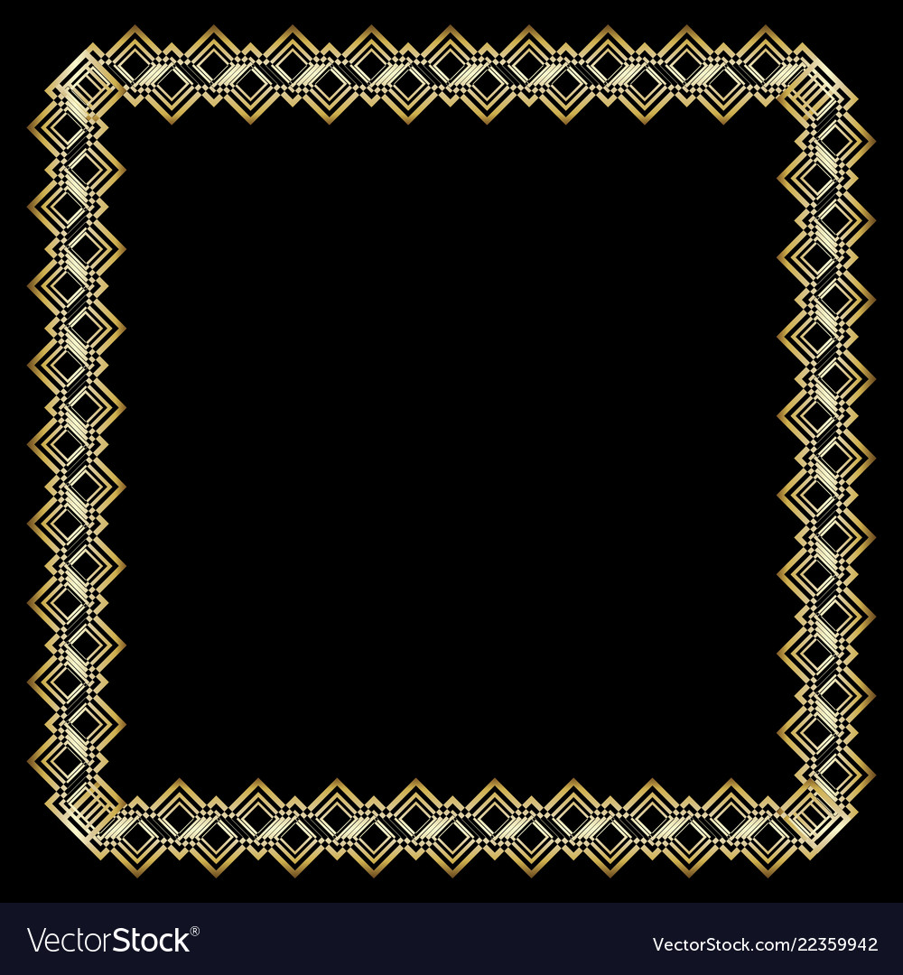 Ornate Luxurious Golden Frame In Art Deco Style On