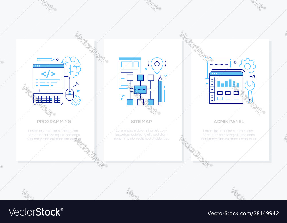 Programming - line design style banners set