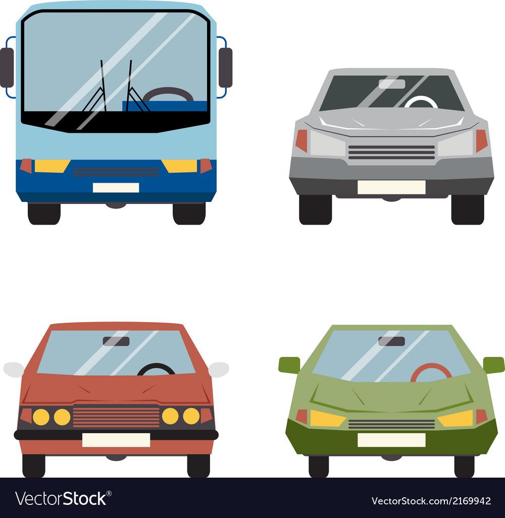 Retro Flat Car Icons Set