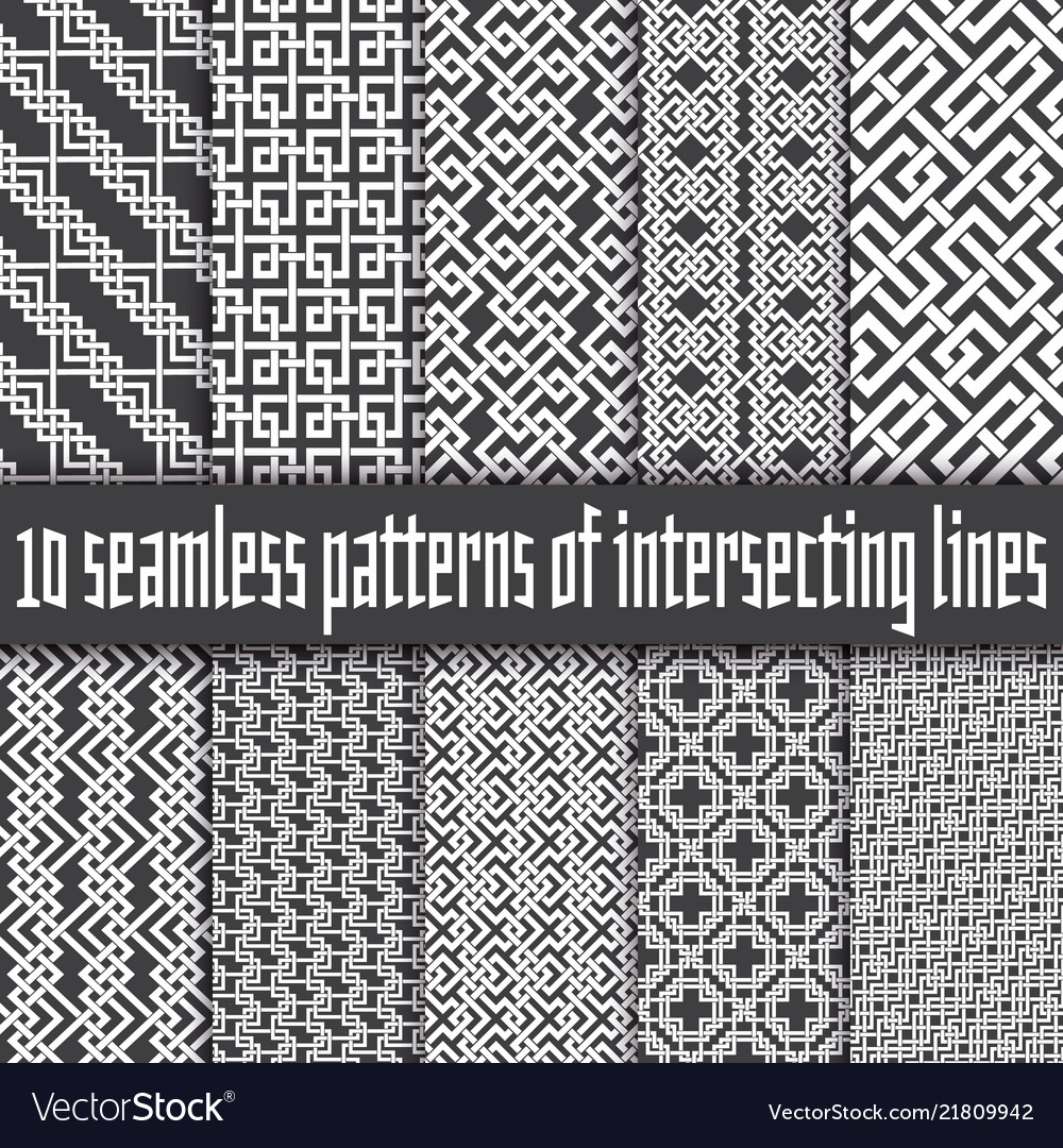 Seamless pattern white lines on black backgrounds