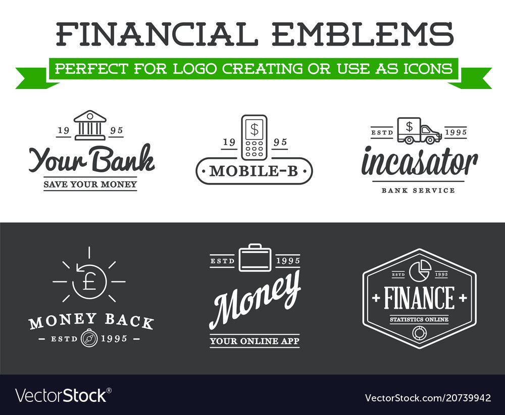Set of banking finance money signs payments and