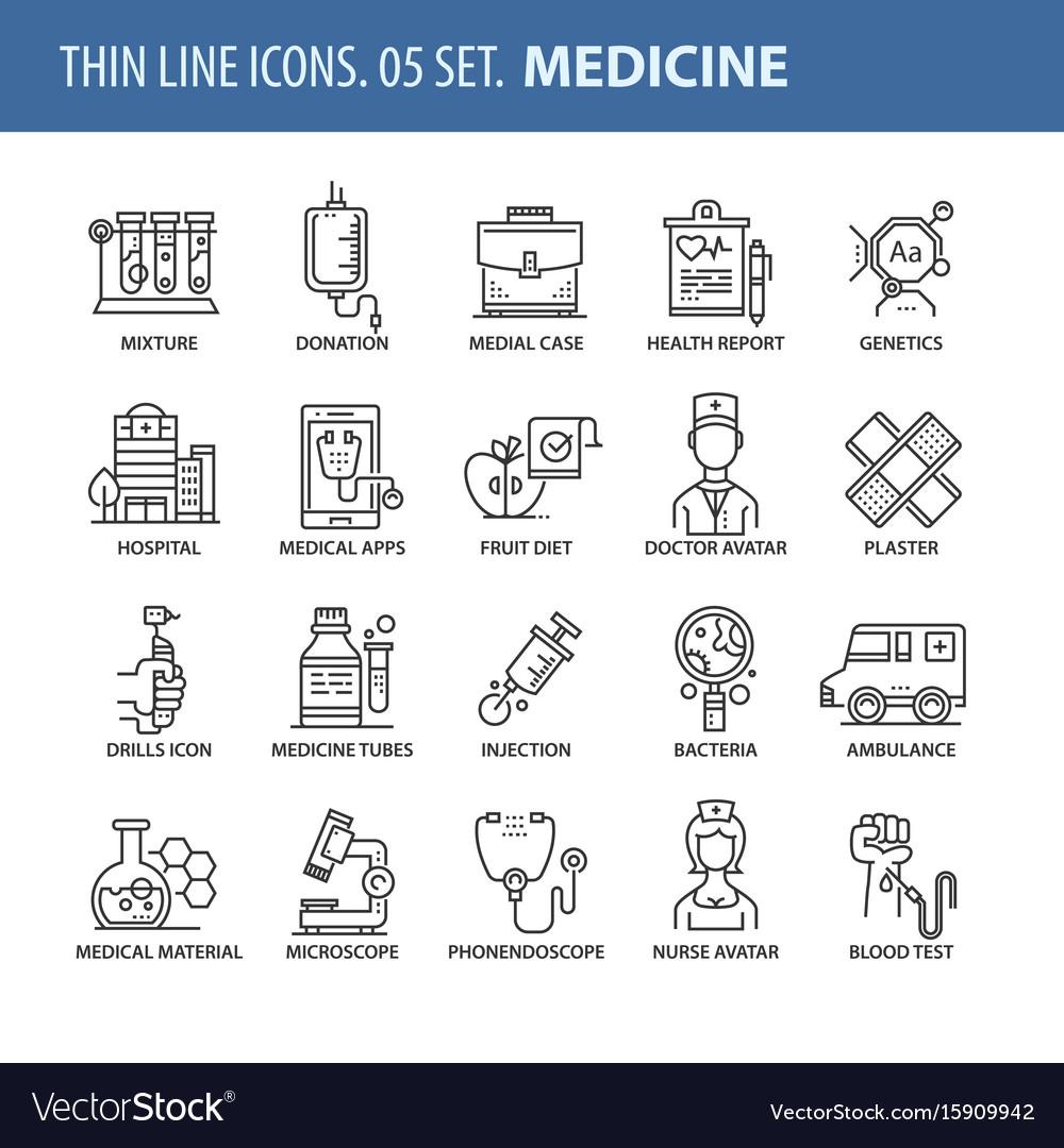 Set of thin line flat icons medicine