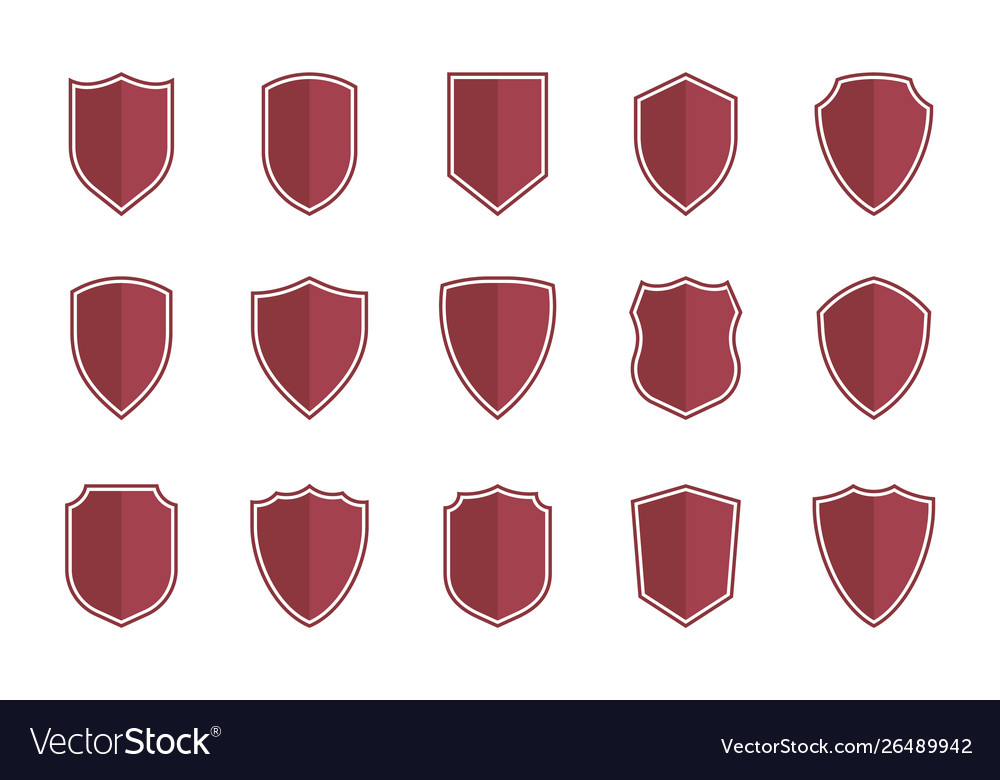 Shield symbols in flat style for web design