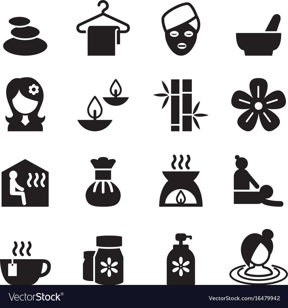 Spa beauty healthy massage icons set 2
