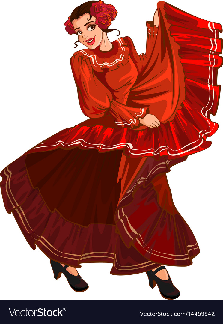8719089b0b99 Spanish woman in red dress dancing Royalty Free Vector Image