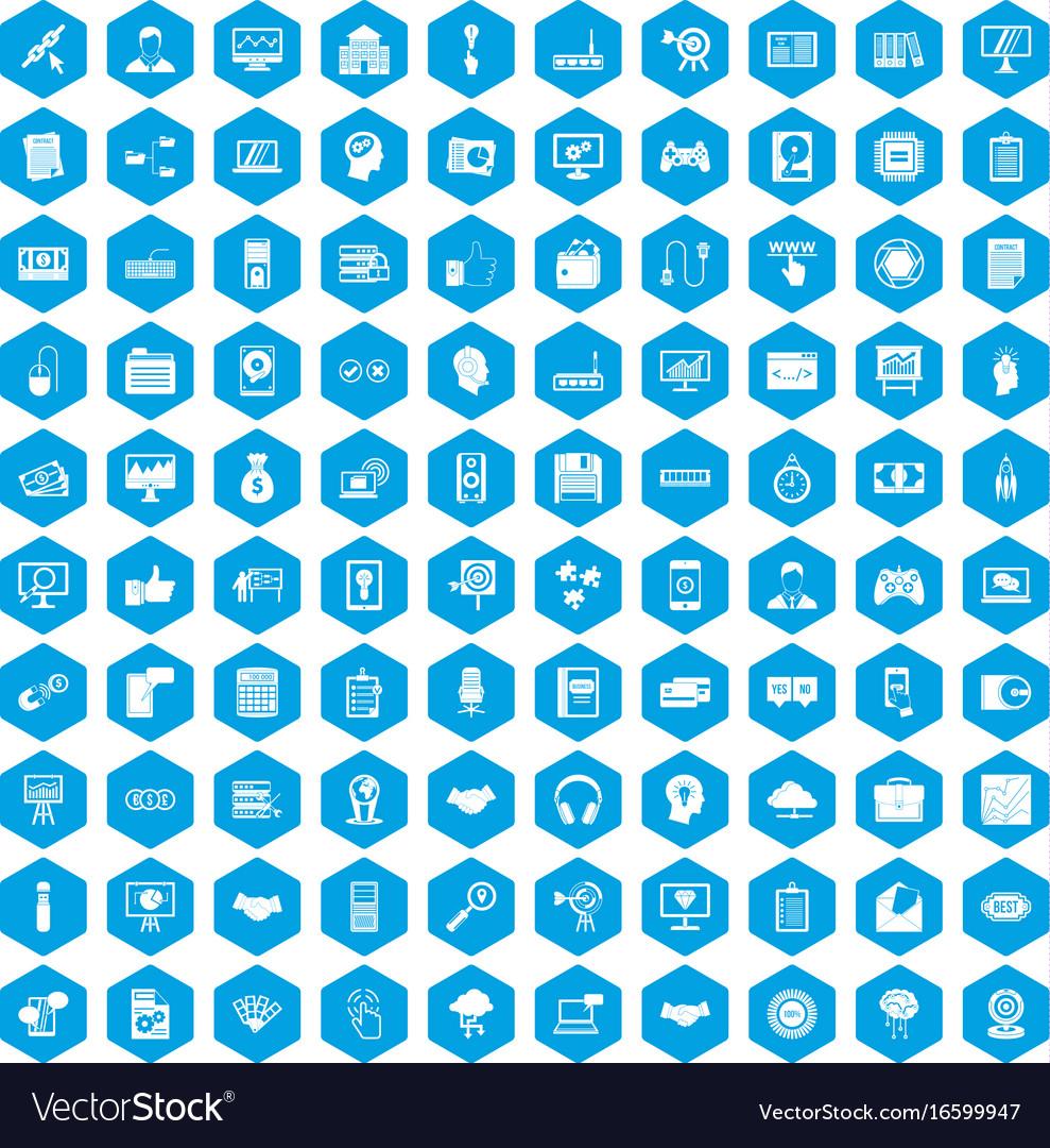 100 web development icons set blue vector image