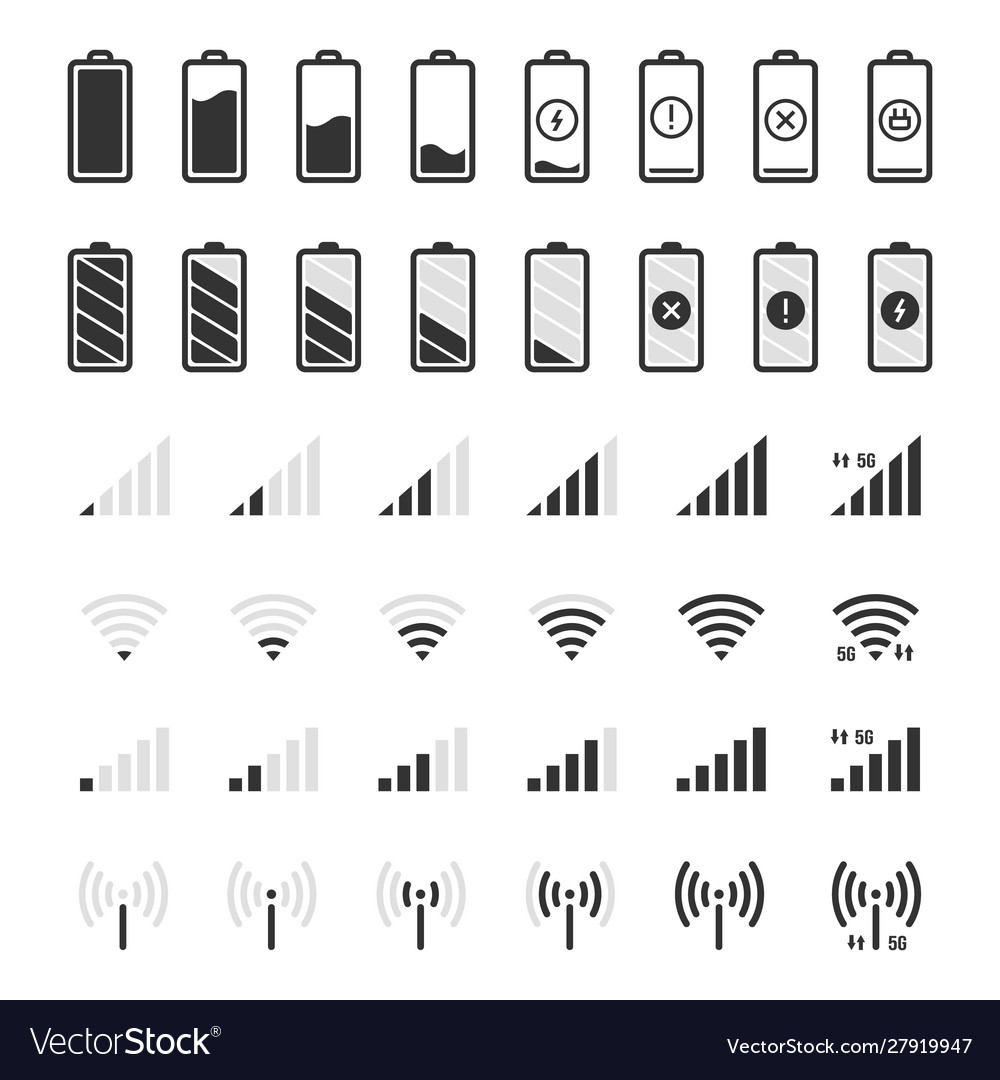 Battery and connection icons smartphone charge