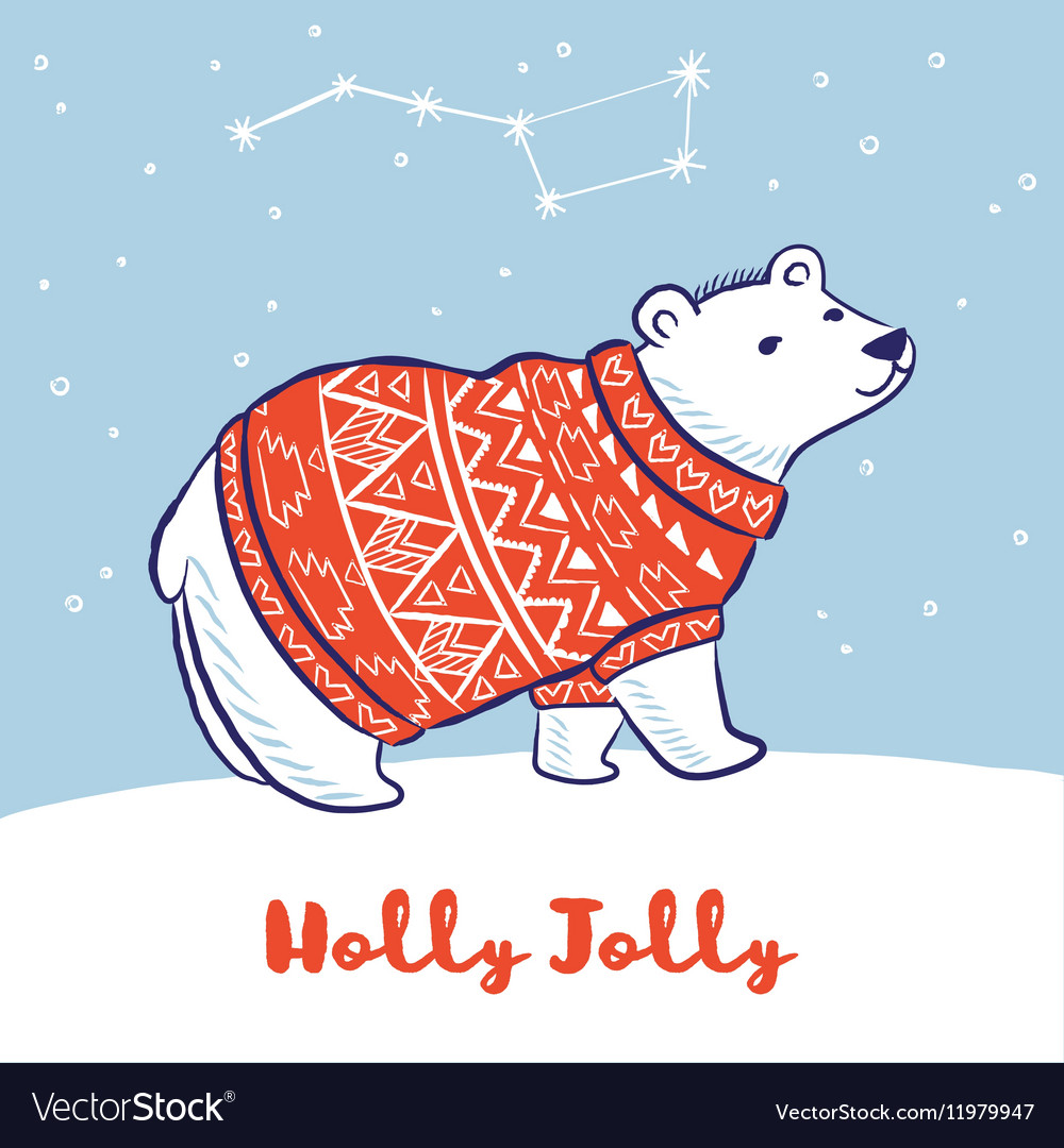 Card with a polar bear in red sweater