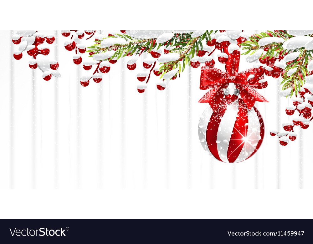 Christmas background with fir branches and red