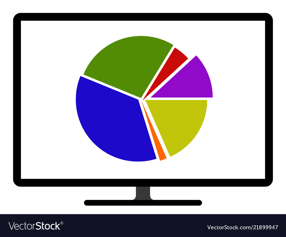 Colored Pie Chart Graph On A Computer Screen Vector Image