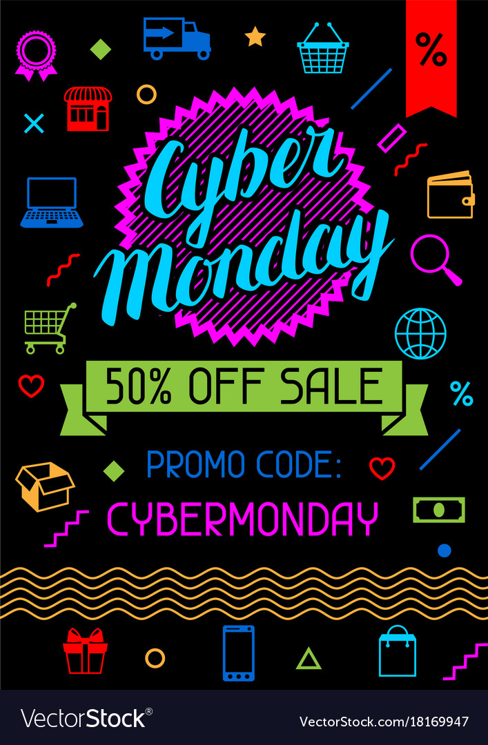 Cyber monday sale background online shopping and