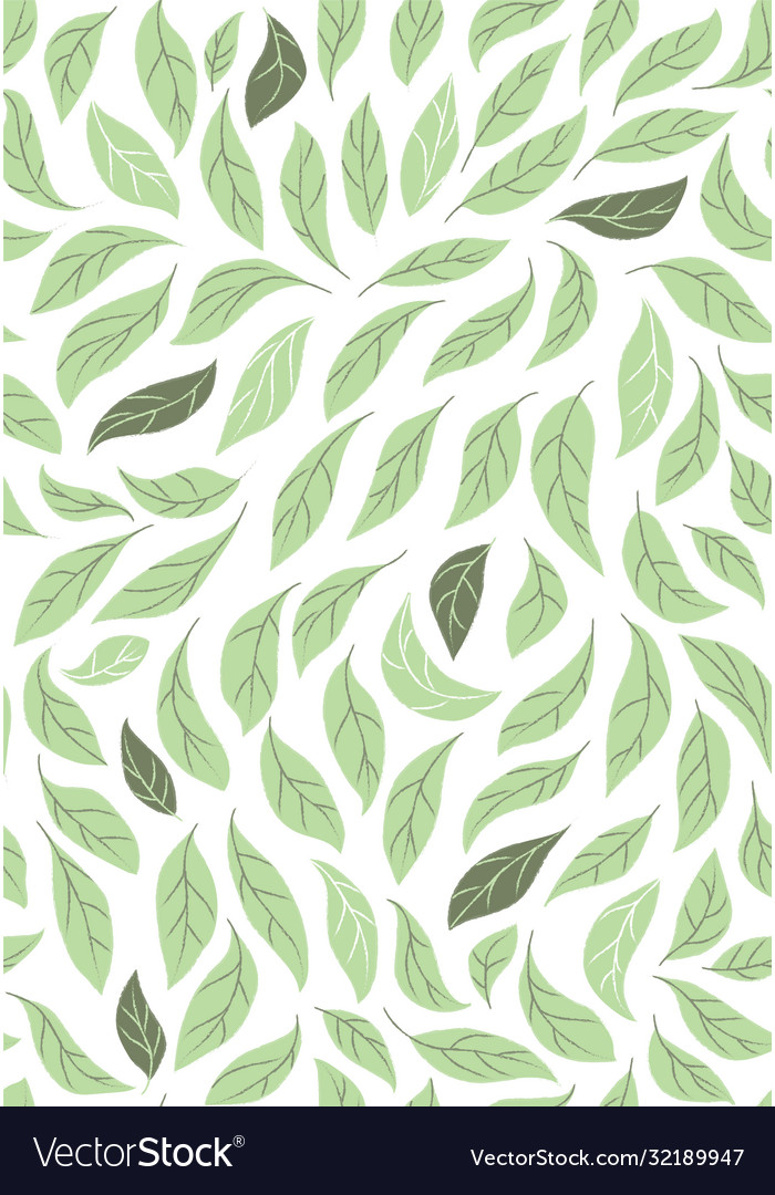 Decorative green leaves seamless background