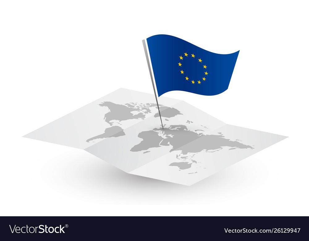 European union flag on abstract world map