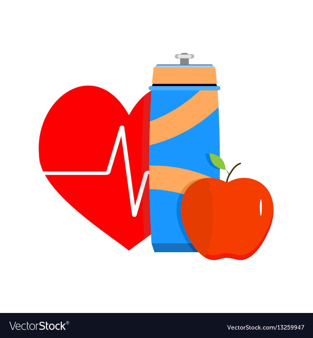 Fitness and diet for health vector image