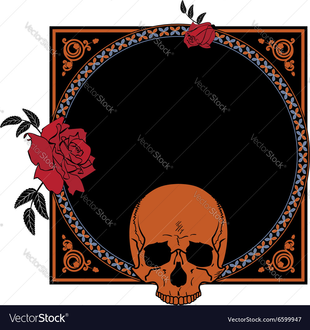 Frame with roses and skull