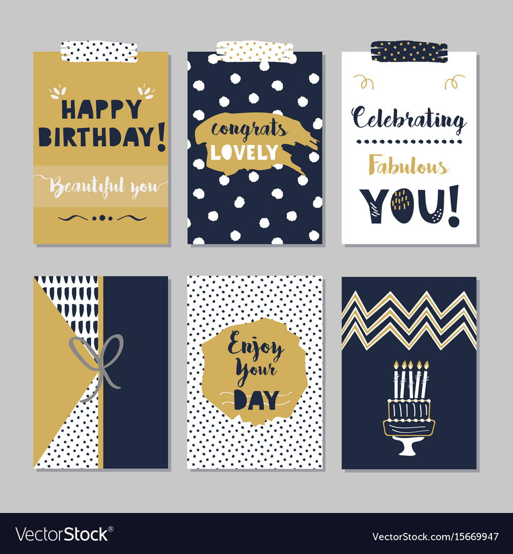 Golden and navy blue happy birthday mini cards set
