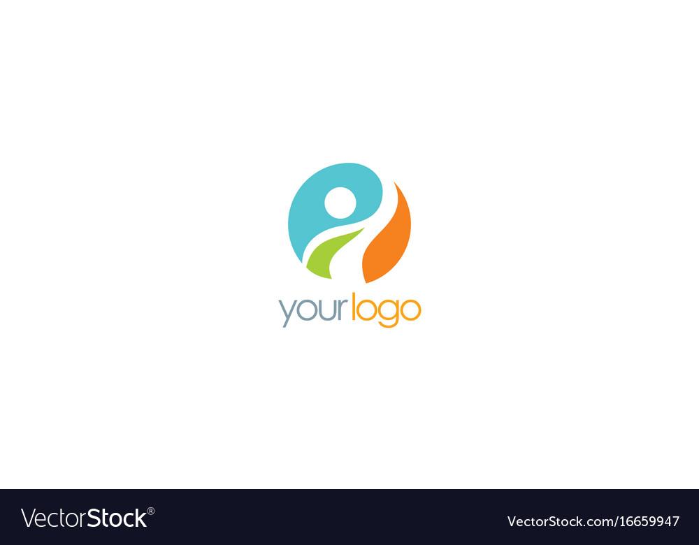 Happy man success logo