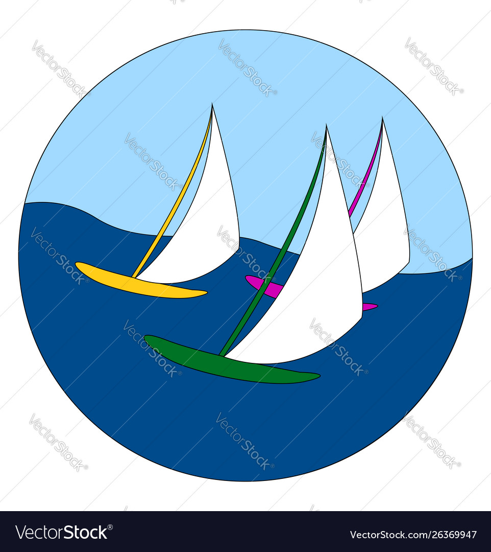 Sailing boats on white background