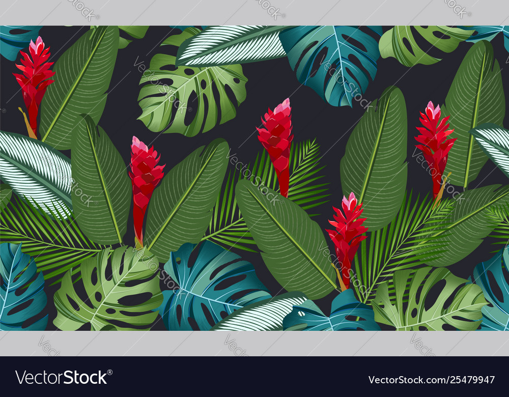 Seamless pattern tropical leaves with ginger