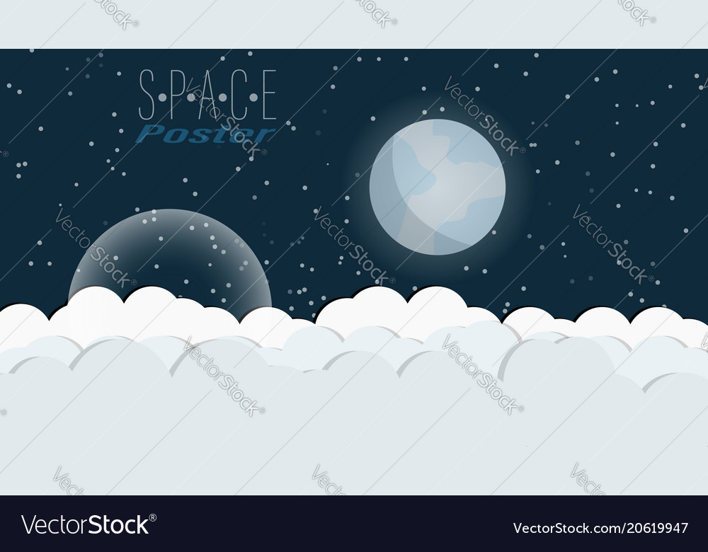 Space poster with clouds stars and planets