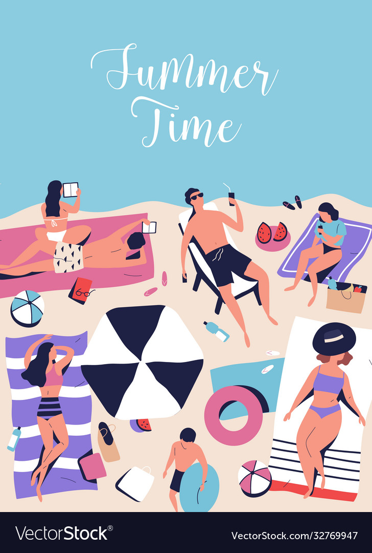 Vertical poster with sunbathing chilling people