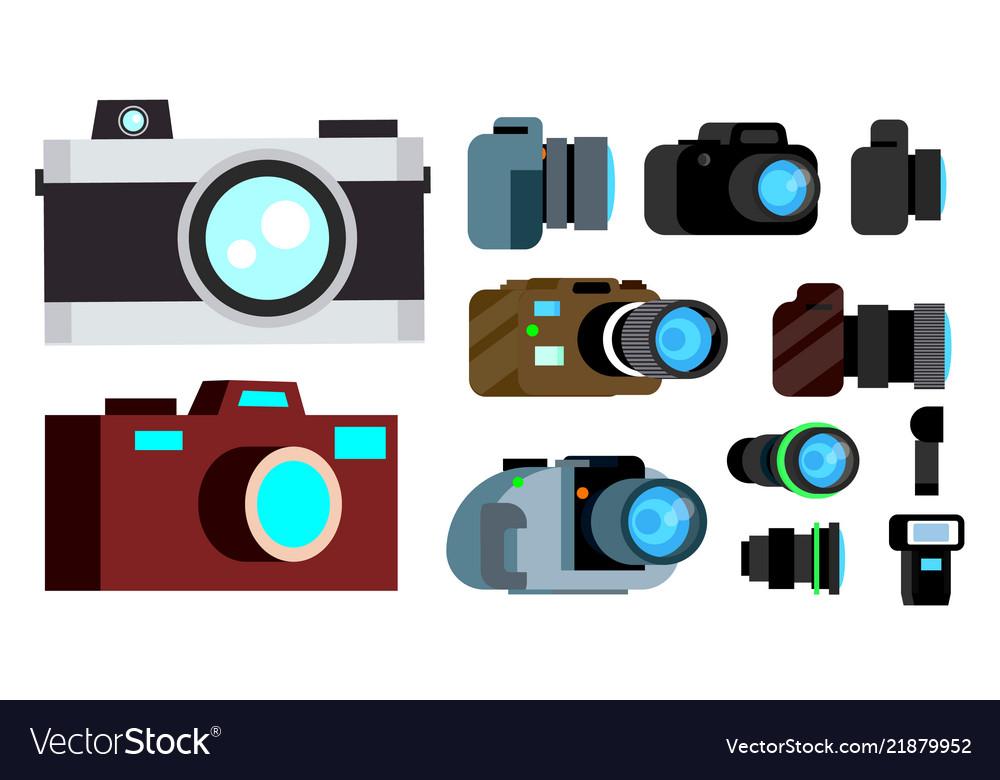 Camera icon set retro vintage modern