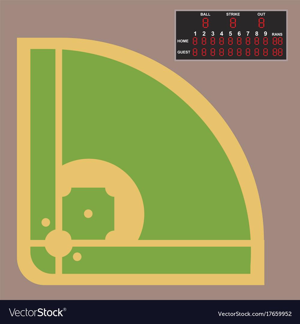 cartoon baseball field batting design royalty free vector rh vectorstock com Funny Baseball Cartoons cartoon baseball field images