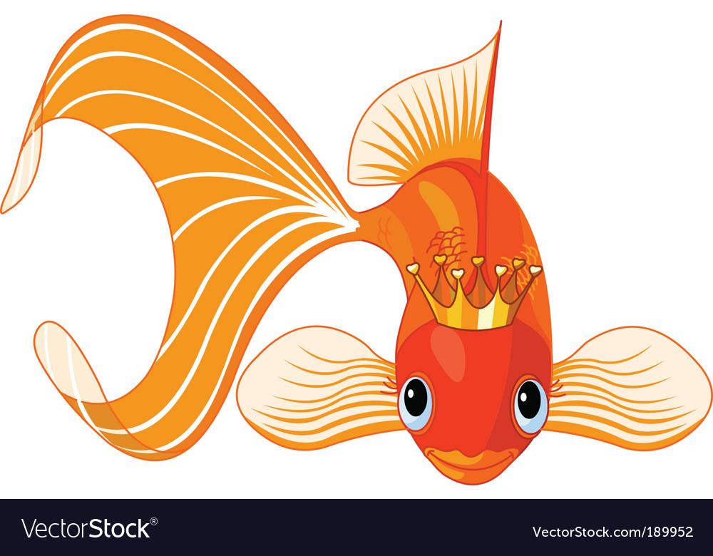 Cartoon goldfish queen Royalty Free Vector Image