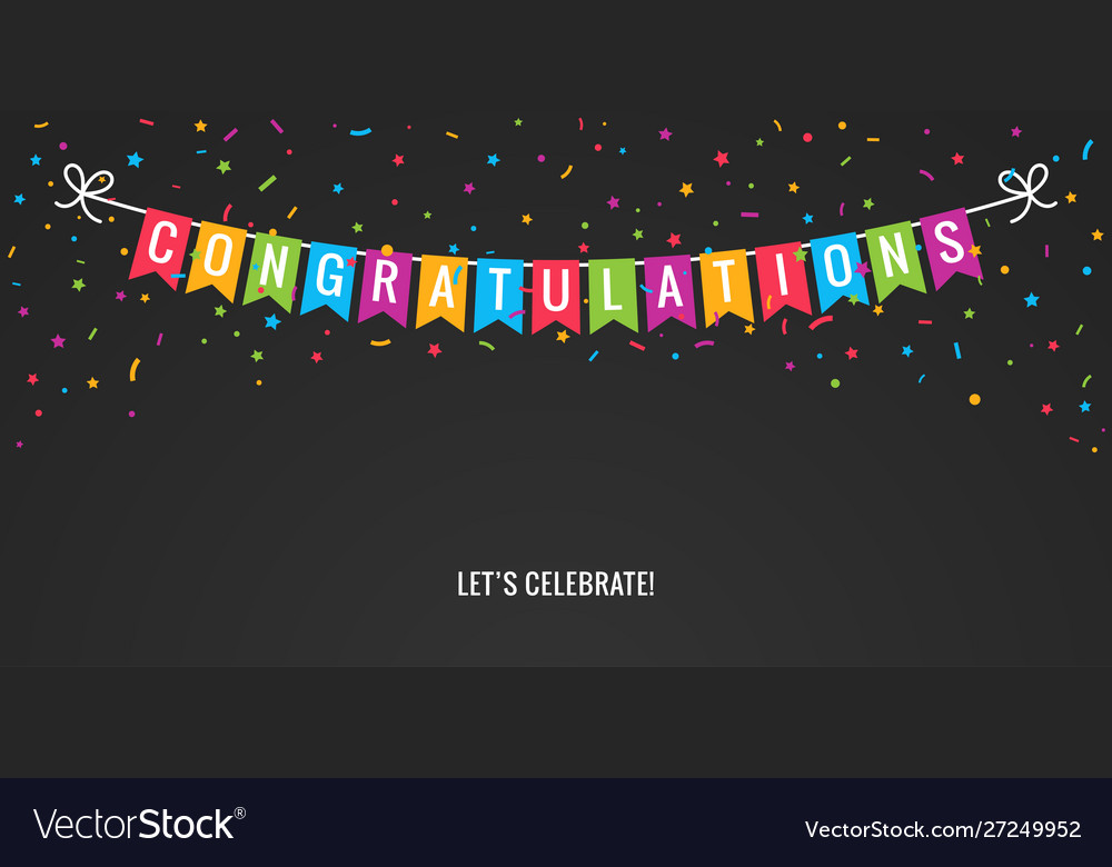Congrats banner party flags with confetti black