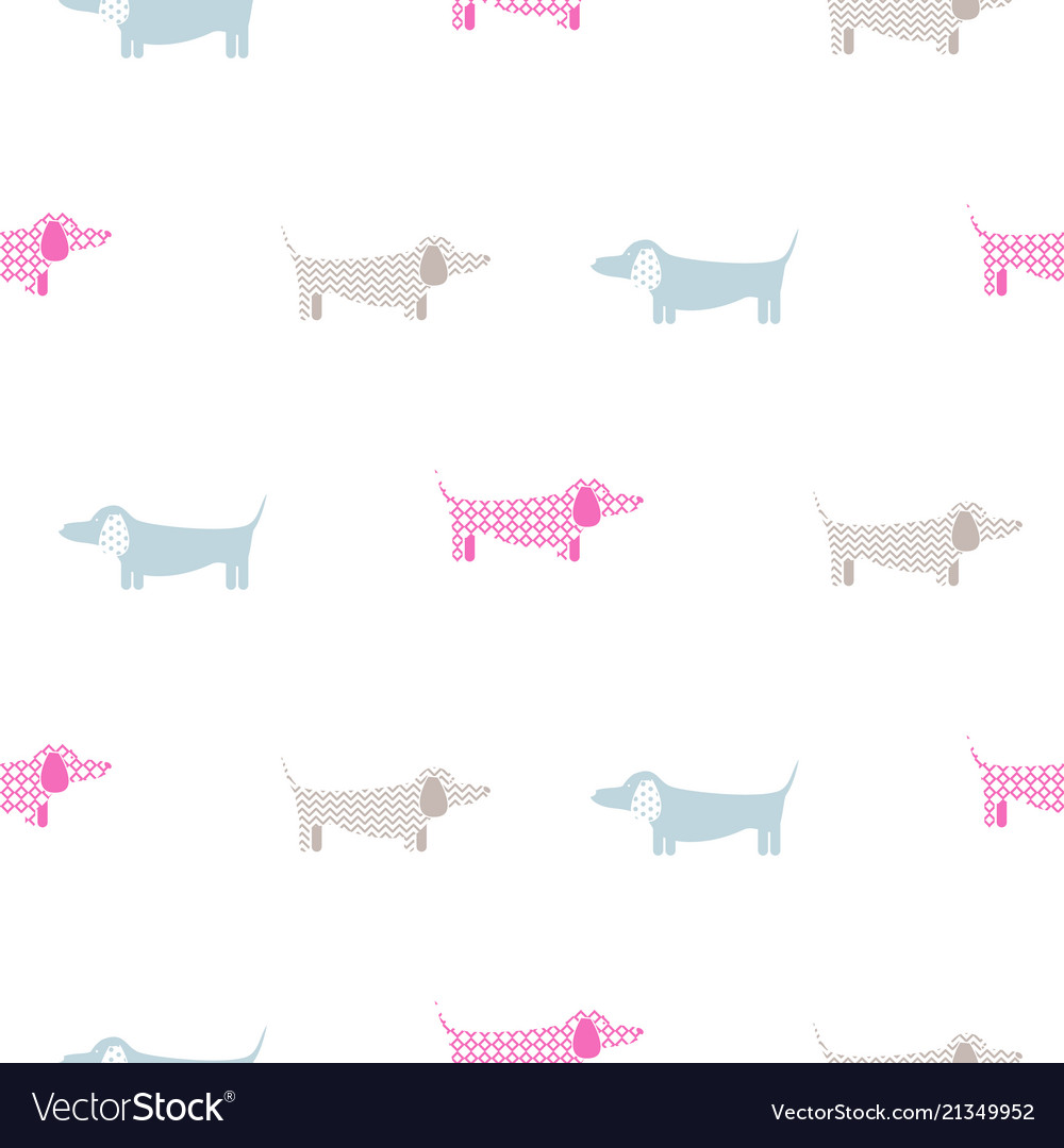 Dachshund dog seamless simple colorful