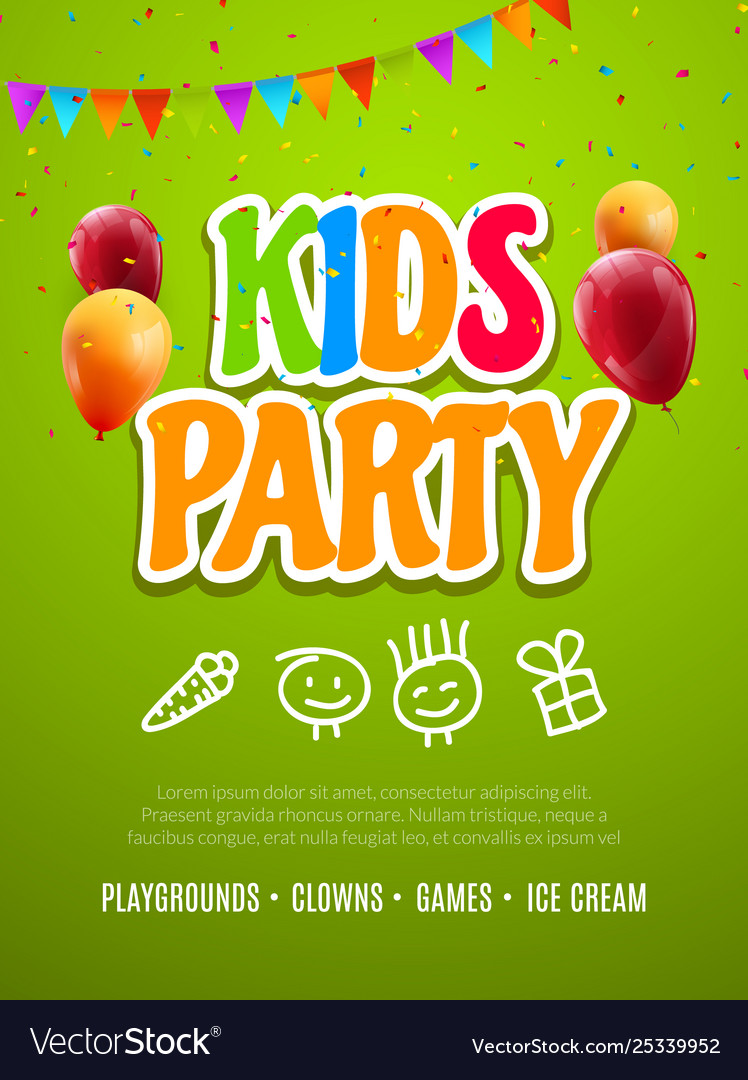 Kids party invitation design template child