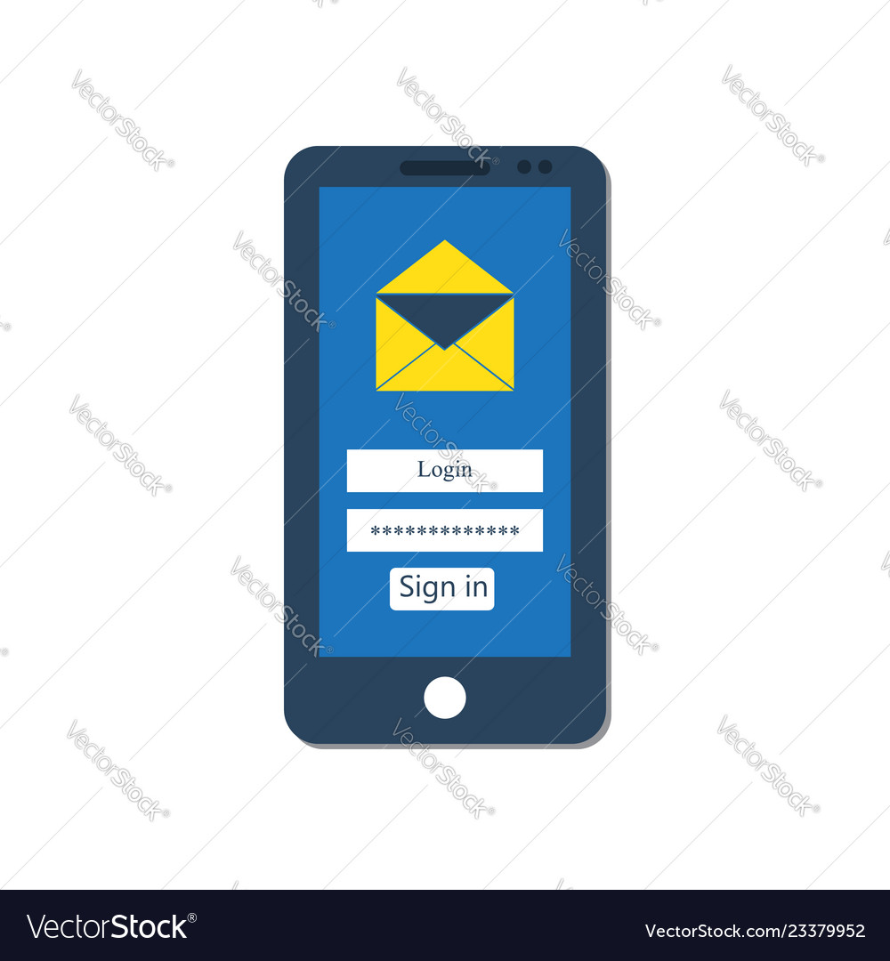 Mail client on smartphone screen
