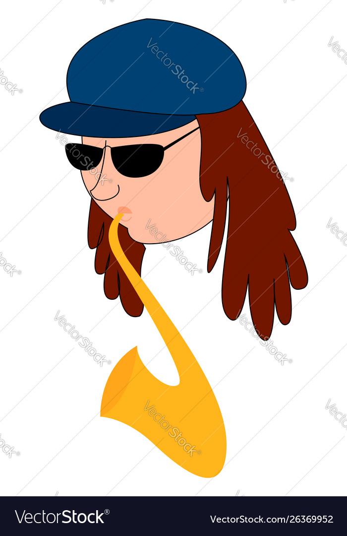 Man playing saxophone on white background
