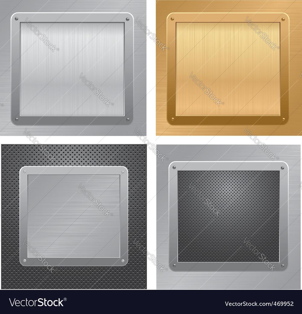 Metallic plaque backgrounds vector image