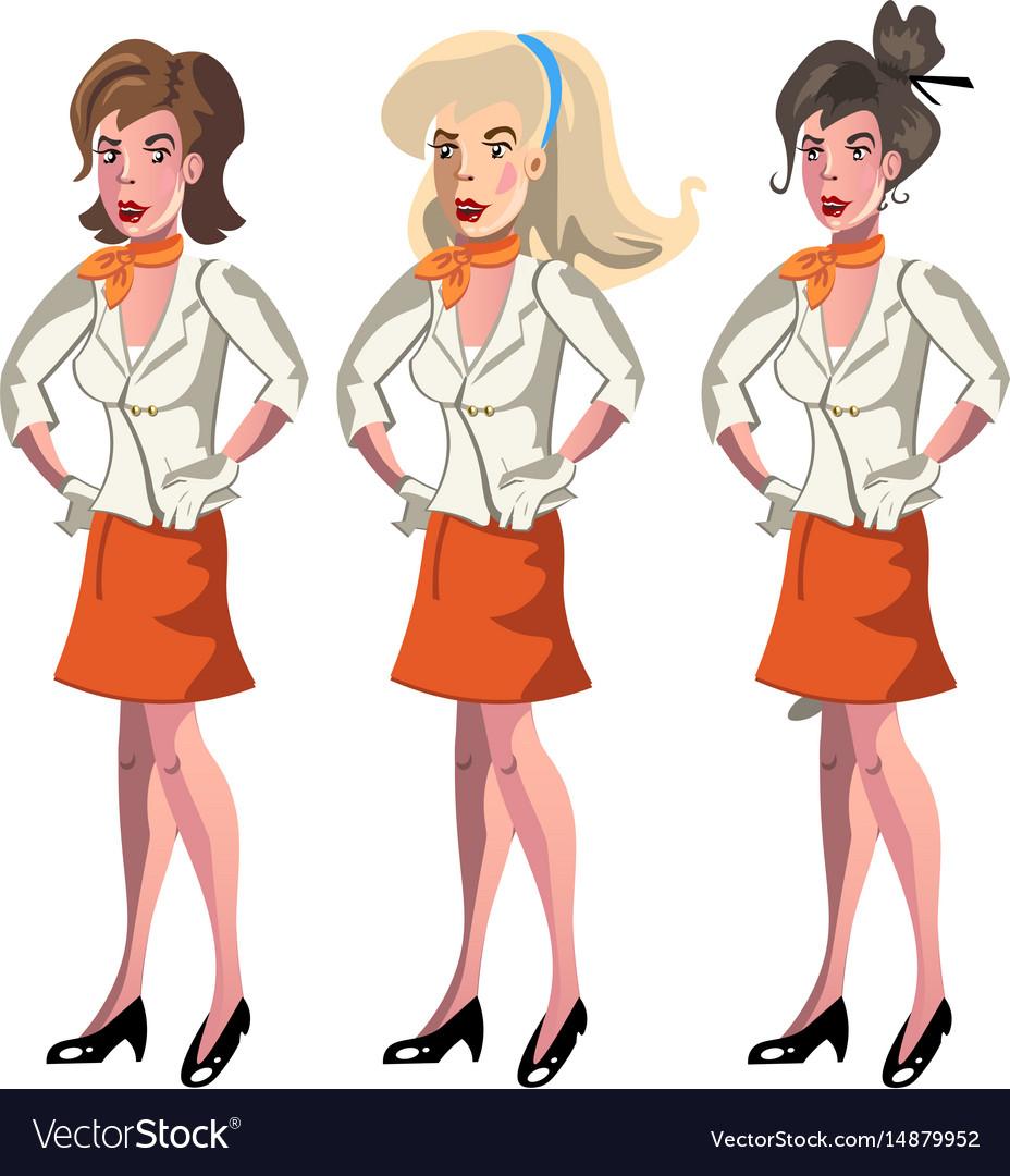 Set of 3 stewardesses dressed in uniform vector image