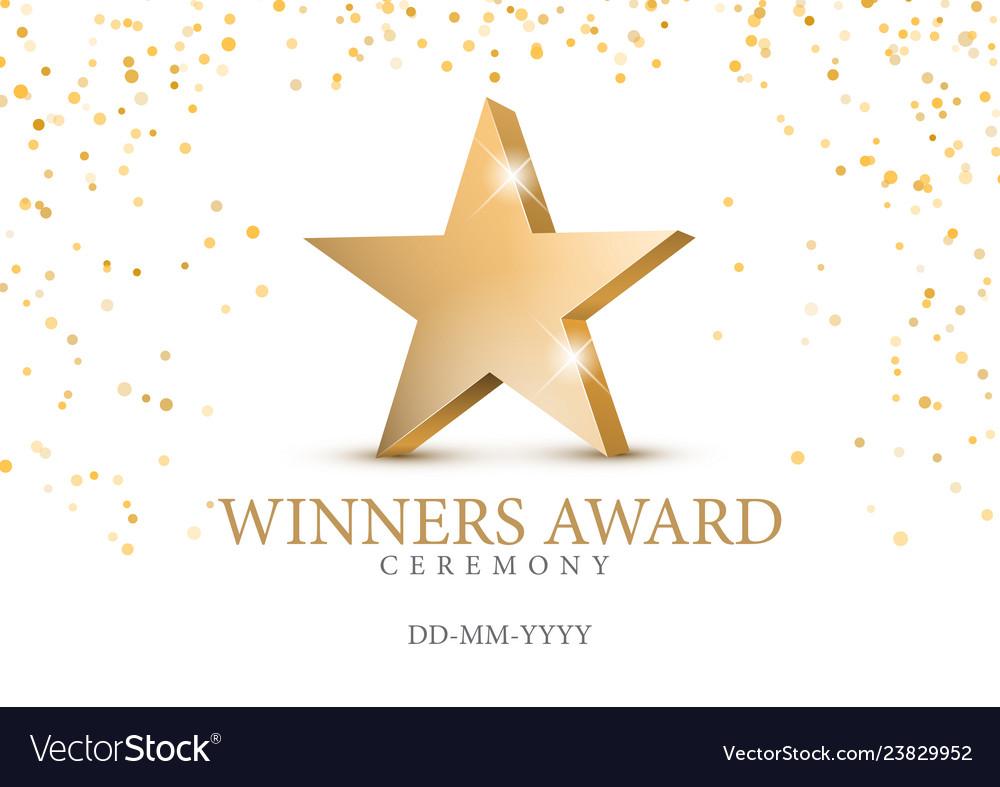 Winner award gold star 3d symbol