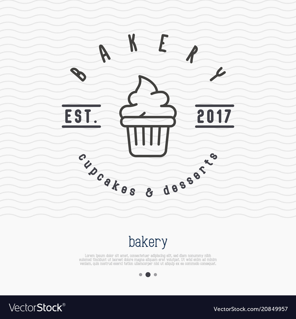 Bakery logo with thin line icon of cupcake