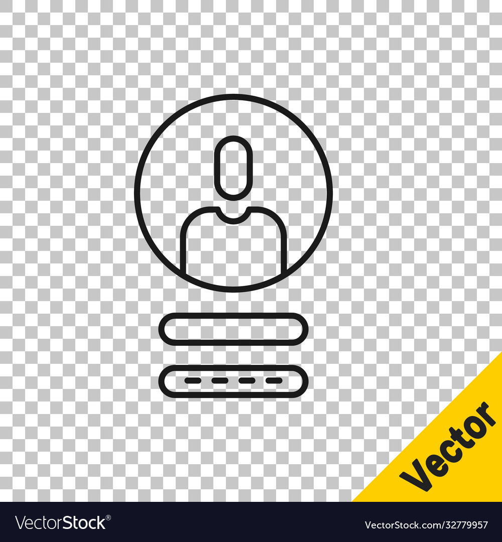 Black line create account screen icon isolated on