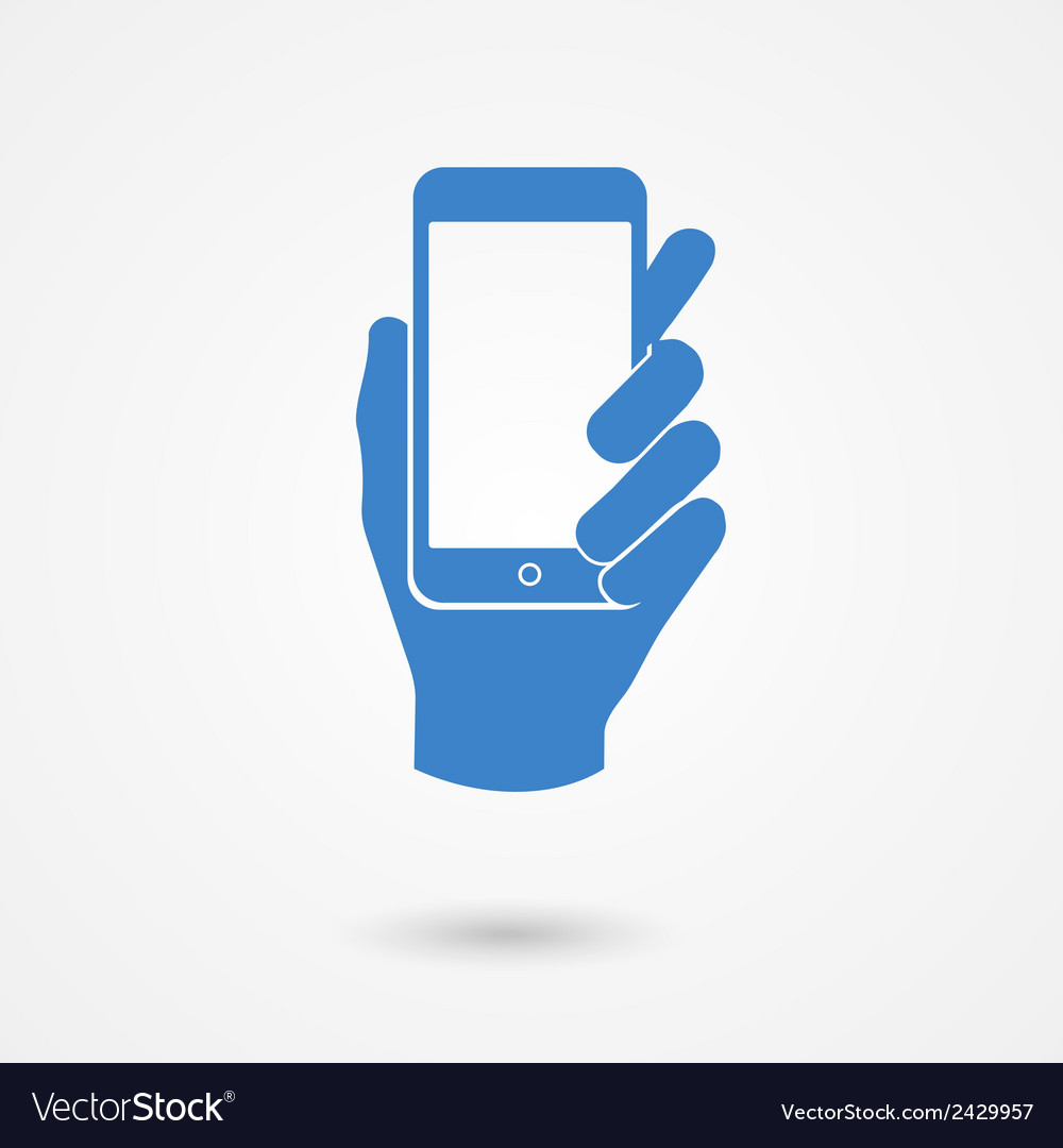 Blue icon with hand holding a smart mobile phone