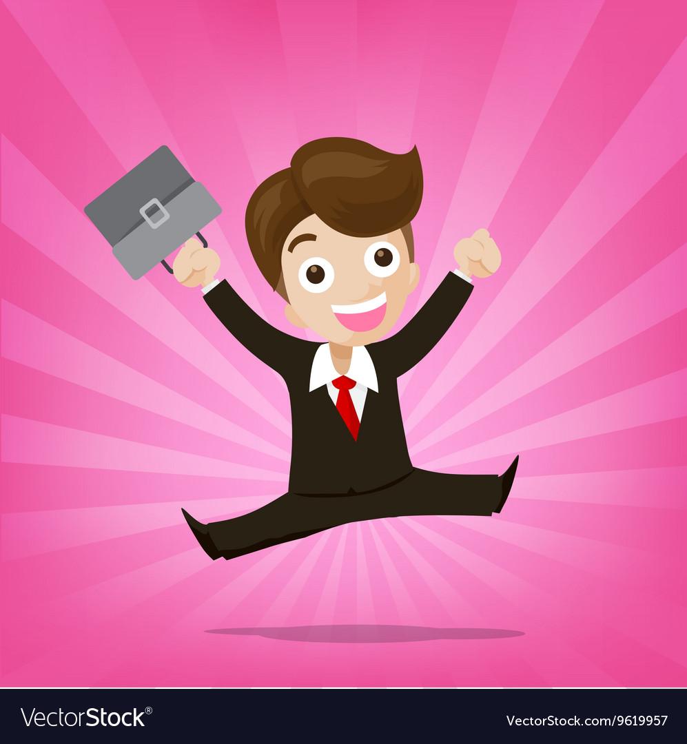 Businessman jumping with joy on sunburst pink