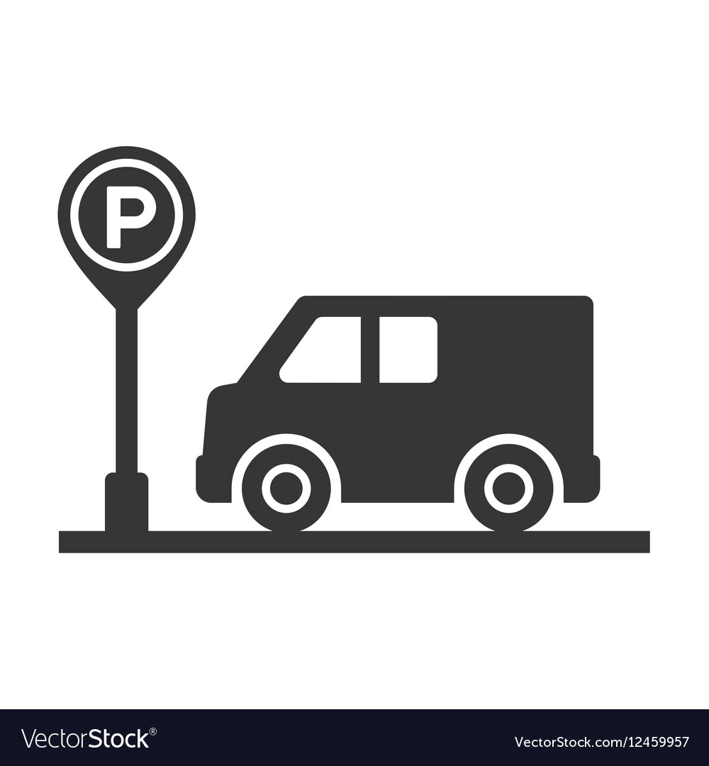 Car with Parking Meter Icon on White Background