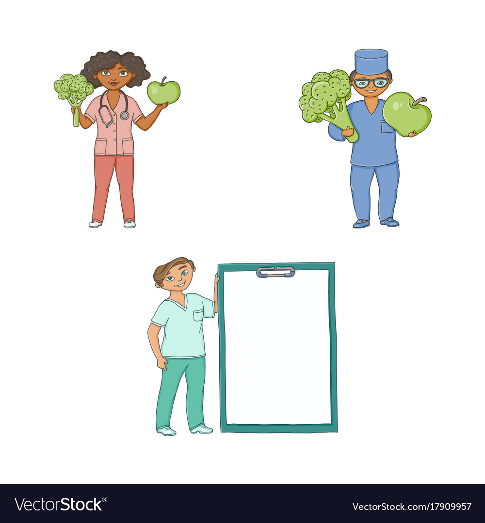 Doctors with giant apple broccoli medical card